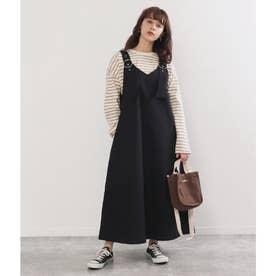 Vデザインジャンパースカート(ブラック)