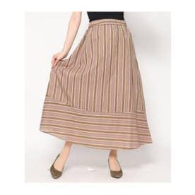 ストライプギャザースカート (ブラウン(015))