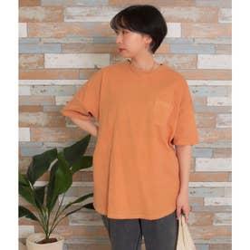 ビッグシルエット加工入りTシャツ(オレンジ)