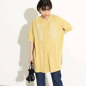 バンドカラー刺繍シャツ(イエローグリーン)