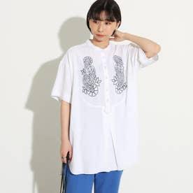 バンドカラー刺繍シャツ(ホワイト)