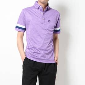 メンズ ゴルフ 半袖シャツ スリーブストライプ ヘザーカノコシャツ 9683602348