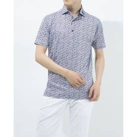メンズ ゴルフ 半袖シャツ フラワープリントライルシャツ 0353187218 (ネイビー)