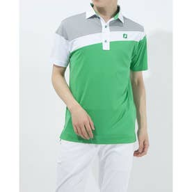 メンズ ゴルフ 半袖シャツ アシンメトリーカラーブロックシャツ 0353186563 (グリーン)