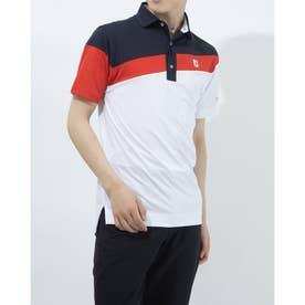 メンズ ゴルフ 半袖シャツ アシンメトリーカラーブロックシャツ 0353186518 (ホワイト)