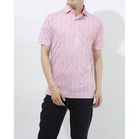 メンズ ゴルフ 半袖シャツ フラワープリントライルシャツ 0353187065 (レッド)