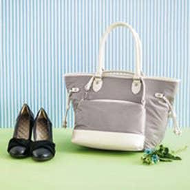 ミニバッグ付きだから使い方広がる 大人女子のためのすっきりトートバッグ (ベージュグレー)