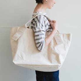 たっぷり入って永く使えるロウ引き倉敷帆布の未晒しトートバッグ (ホワイト)