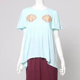おうちで人魚姫気分 貝殻を花柄アップリケで作った フレアーTシャツ (グリーン)