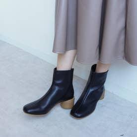 シンプル丸ヒールショートブーツ (ブラック)