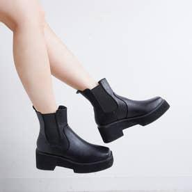 スクエアサイドゴア厚底ショートブーツ (ブラック)