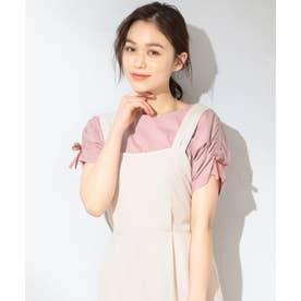 【抗菌防臭】リボンブラウジング Tシャツ (ピンク系)