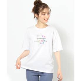 【THE Mコラボ】オーガビッツフラワーモチーフ Tシャツ (アイボリー系)