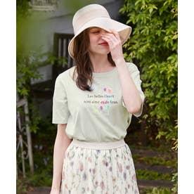【THE Mコラボ】オーガビッツフラワーモチーフ Tシャツ (カーキ系)