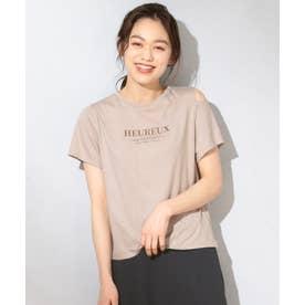 【洗える】マーガレットロゴ Tシャツ (キャメル系)