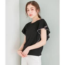 【接触冷感】クールビューティーフリル Tシャツ (ブラック系)