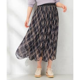 【洗える】クラシックオータムチェック スカート (ブラック系3)