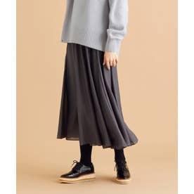 【洗える】シルキーローン スカート (グレー系)