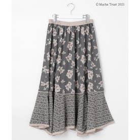 【Mucha】アートフラワープリントスカート (グレー系3)
