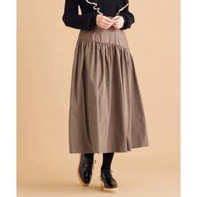 【洗える】フェイクレザーコンビスカート (キャメル系)