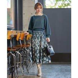 【美人百花コラボ】フラワージャガードスカートセットアップ (ライトグリーン系3)