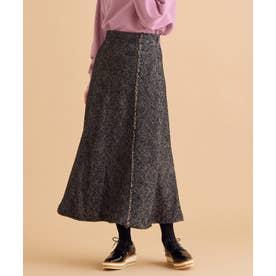 【洗える】ヘアリーネップヘリンボーンスカート (ブラック系3)