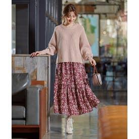 【2SET】畔ニット×ランダムギャザースカート セットアップ (ピンク系)