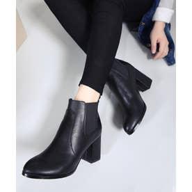 マルチヒールショートブーツ (ブラック(PU))