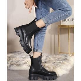 サイドゴア厚底ブーツ (ブラック)