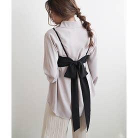 バックリボンビスチェ×BIGシャツセット (ブラック)