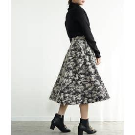 ボリュームフレアのツイードスカート (ブラック)
