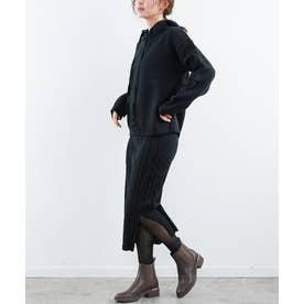 ニットパーカー×ケーブルニットスカートセットアップ (ブラック)
