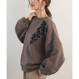 コード刺繍バルーンスリーブプルオーバー (ブラウン)