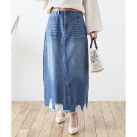 裾ダメージロングデニムスカート (ブルー)