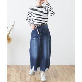 裾ダメージロングデニムスカート (インディゴブルー)