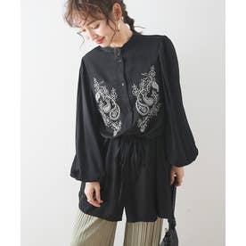 刺繍バンドカラーシャツ (ブラック)