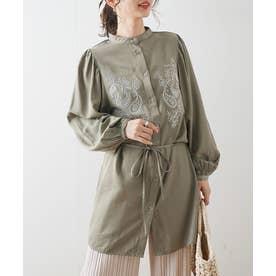 刺繍バンドカラーシャツ (カーキ)