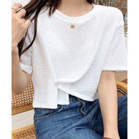 アシメデザインクロップドTシャツ (ホワイト)