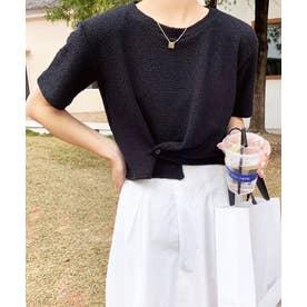 アシメデザインクロップドTシャツ (ブラック)
