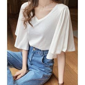 フレアスリーブTシャツ (ホワイト)