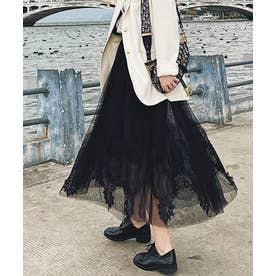 裾レースチュールスカート (ブラック)
