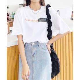 アクセントロゴプリントTシャツ (ホワイト)