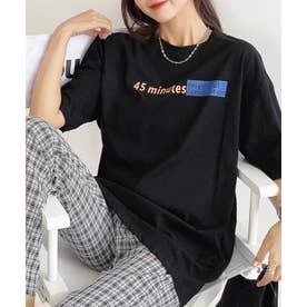 アクセントロゴプリントTシャツ (ブラック)