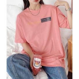 アクセントロゴプリントTシャツ (ピンク)