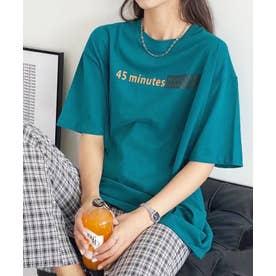 アクセントロゴプリントTシャツ (ブルーグリーン)