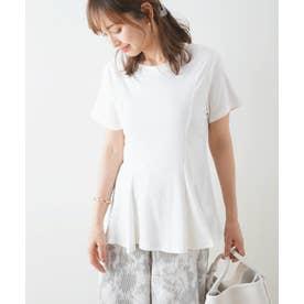 ウエストタックペプラムTシャツ (ホワイト)