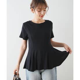 ウエストタックペプラムTシャツ (ブラック)