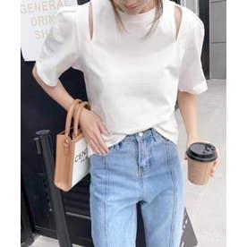 ショルダーカットTシャツ (ホワイト)