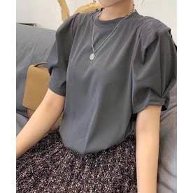 アーム切替タックスリーブTシャツ (チャコールグレー)