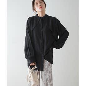 楊柳ケープ付シャツ (ブラック)